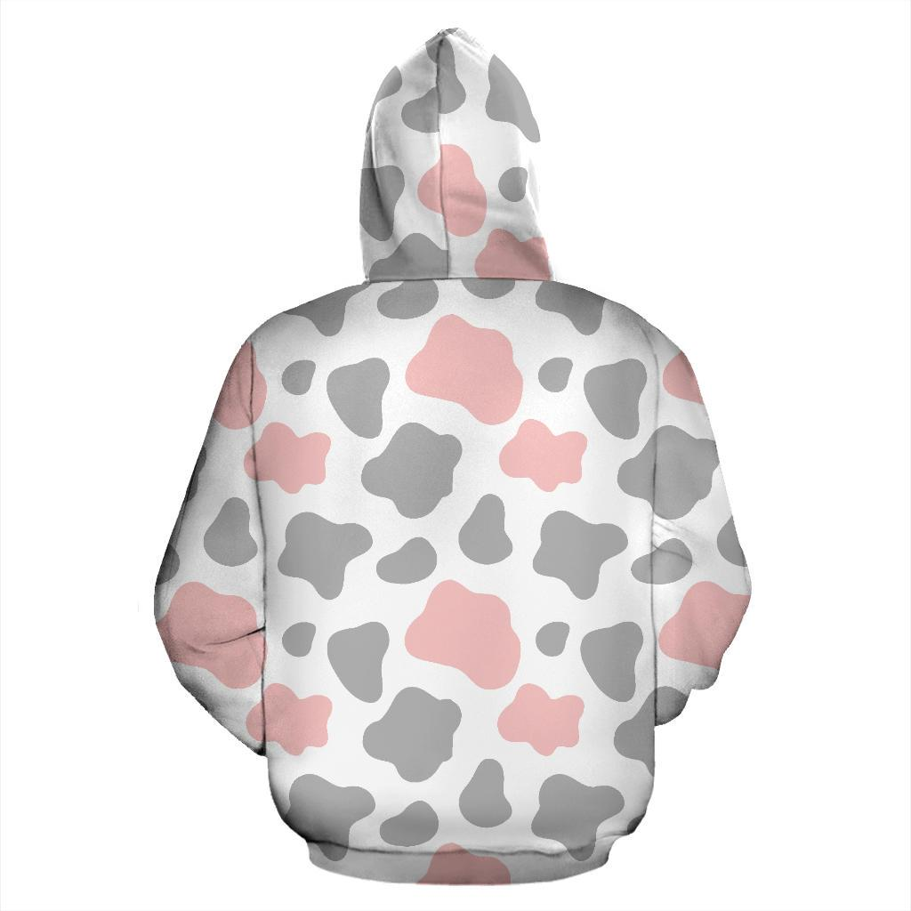 Pink Grey And White Cow Print Pullover Hoodie GearFrost