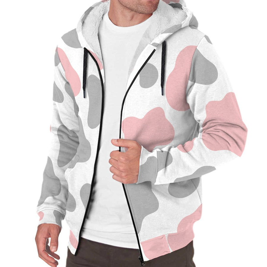 Pink Grey And White Cow Print Sherpa Lined Fleece Hoodie GearFrost