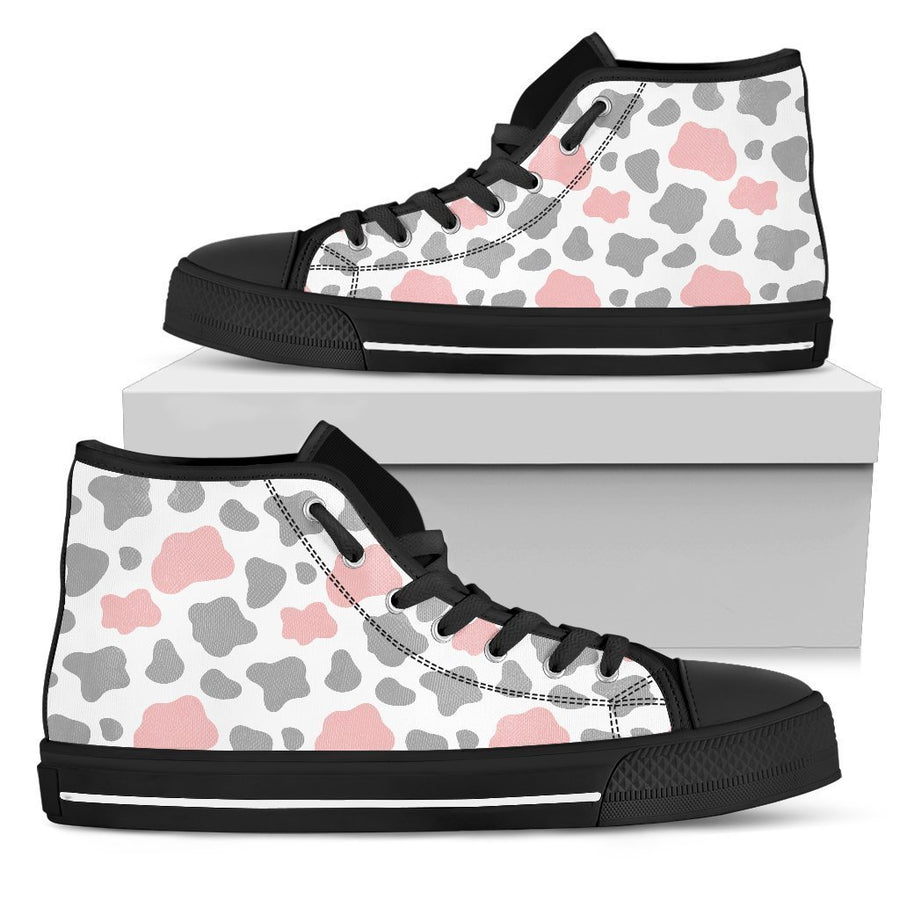 Pink Grey And White Cow Print Women's High Top Shoes GearFrost