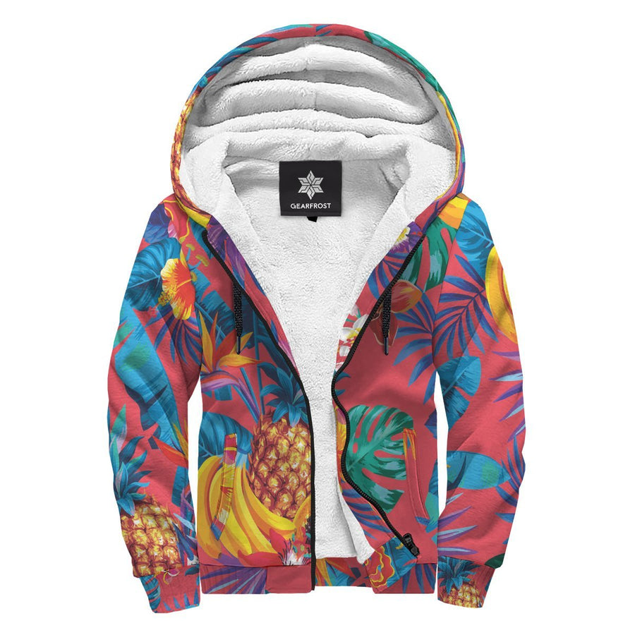 Pink Hawaiian Fruits Pattern Print Sherpa Lined Fleece Hoodie GearFrost