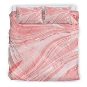 Pink Liquid Marble Print Duvet Cover Bedding Set GearFrost