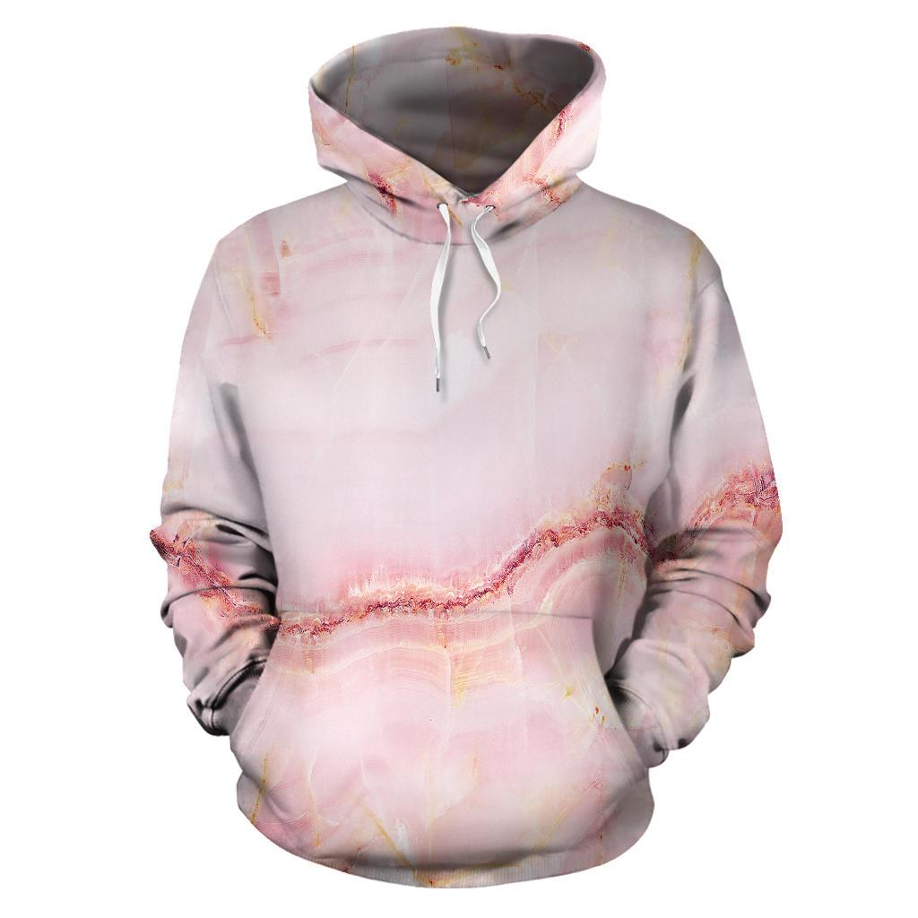 Pink Marble Print Pullover Hoodie GearFrost