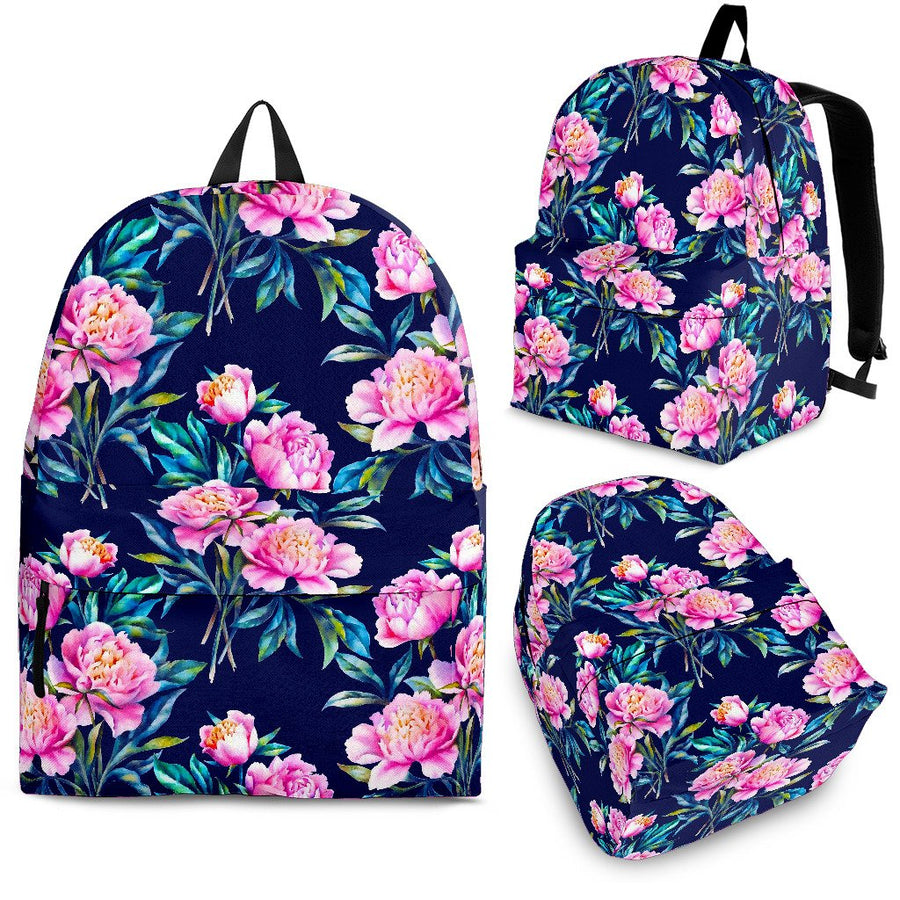 Pink Peony Floral Flower Pattern Print Backpack GearFrost