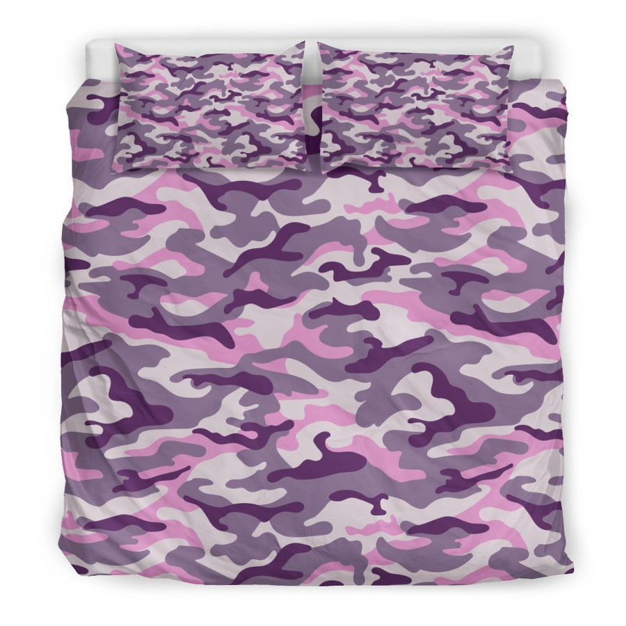 Pink Purple And Grey Camouflage Print Duvet Cover Bedding Set GearFrost