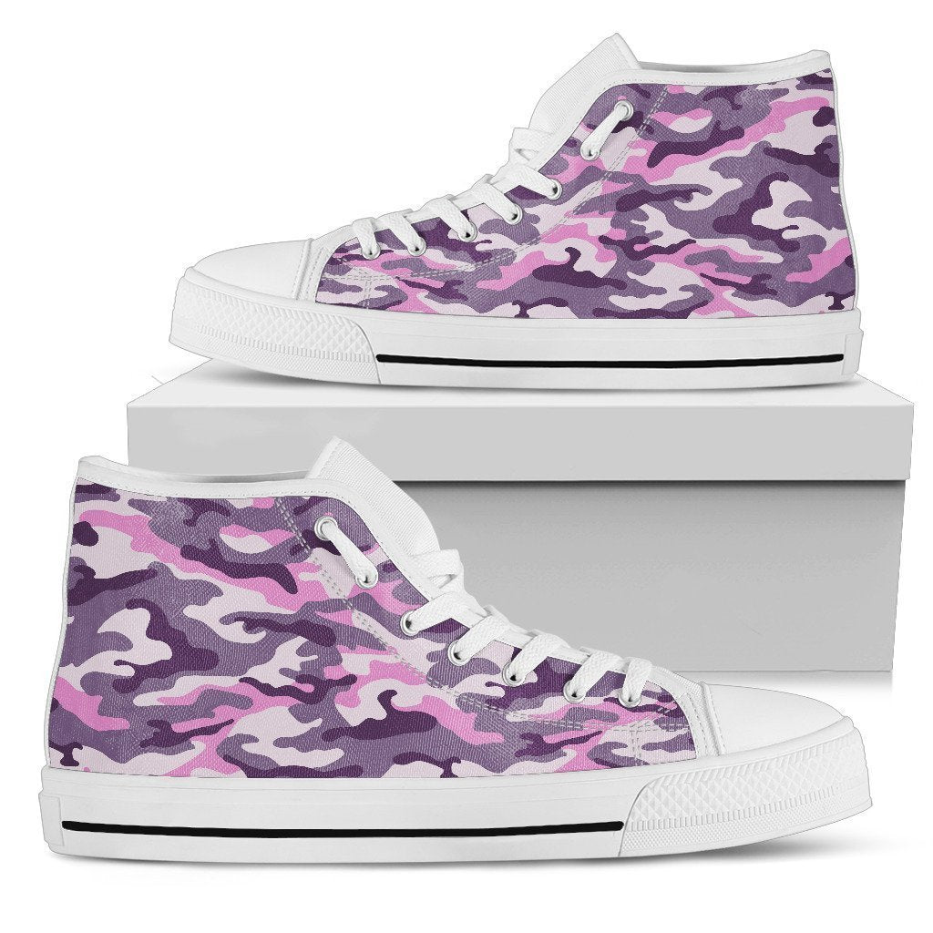 Pink Purple And Grey Camouflage Print Men's High Top Shoes GearFrost