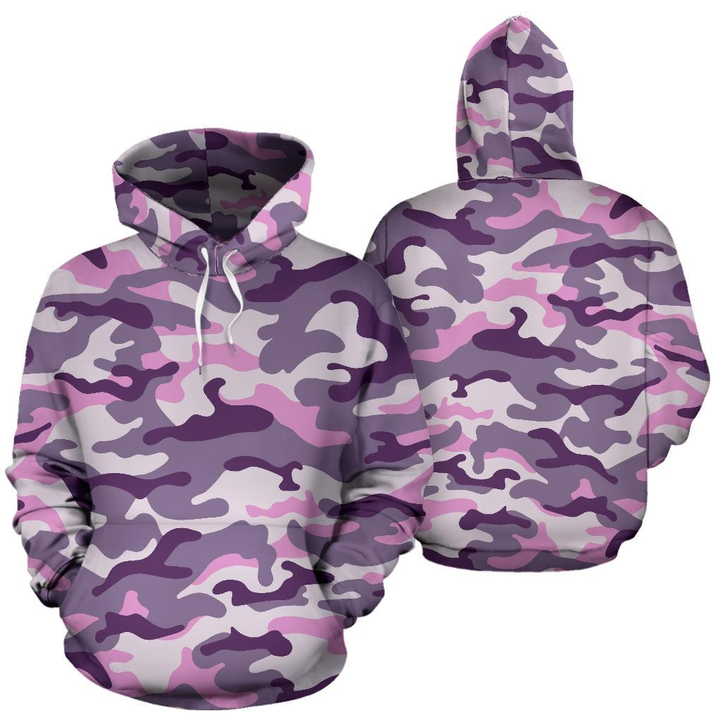 Pink Purple And Grey Camouflage Print Pullover Hoodie GearFrost