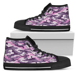 Pink Purple And Grey Camouflage Print Women's High Top Shoes GearFrost