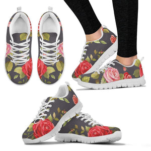 Pink Red Rose Floral Pattern Print Women's Sneakers GearFrost