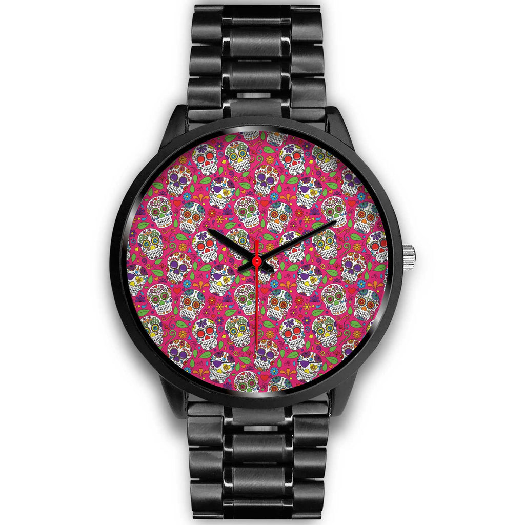 Pink Sugar Skull Pattern Print Black Watch GearFrost