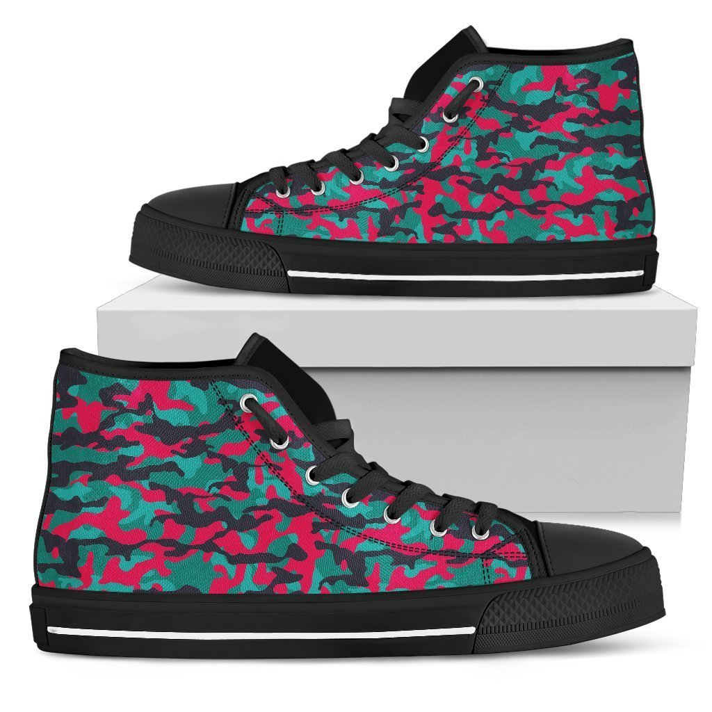 Pink Teal And Black Camouflage Print Women's High Top Shoes GearFrost