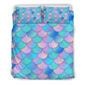 Pink Teal Mermaid Scales Pattern Print Duvet Cover Bedding Set GearFrost