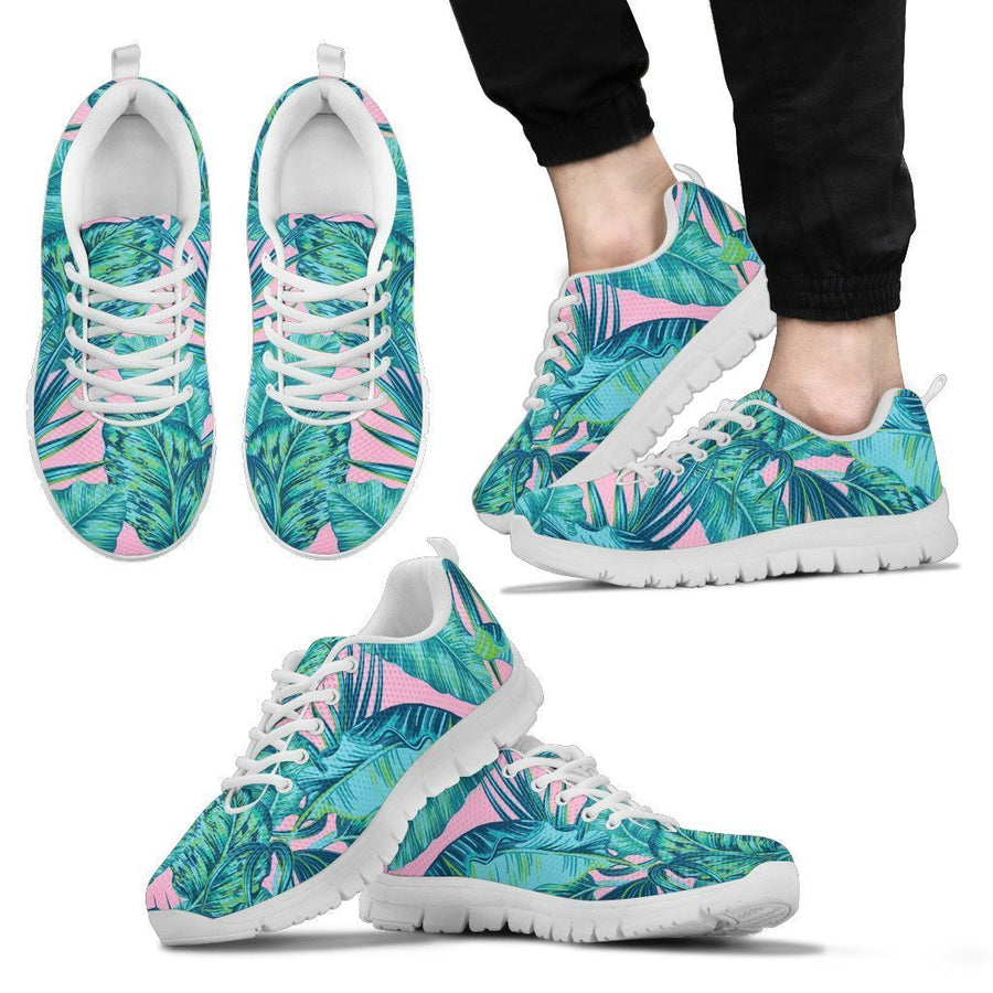 Pink Teal Tropical Leaf Pattern Print Men's Sneakers GearFrost