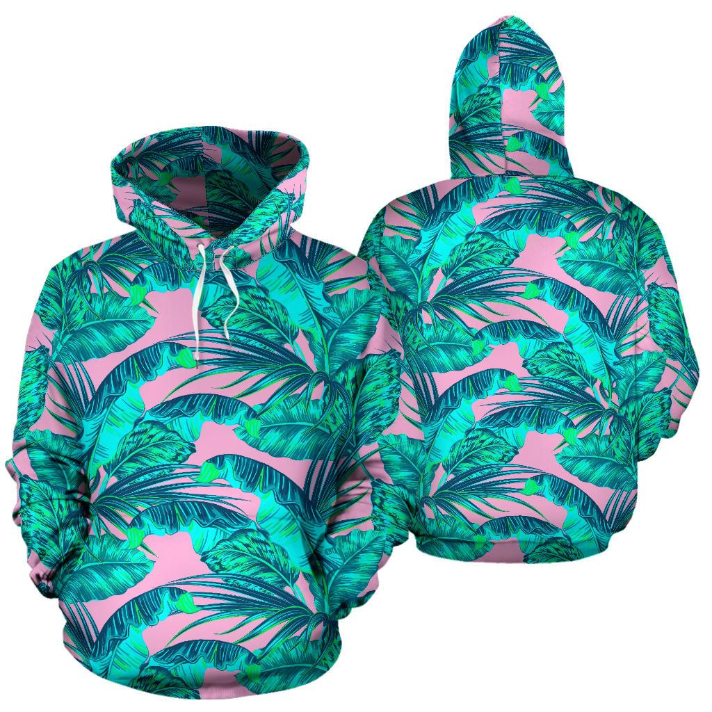 Pink Teal Tropical Leaf Pattern Print Pullover Hoodie GearFrost