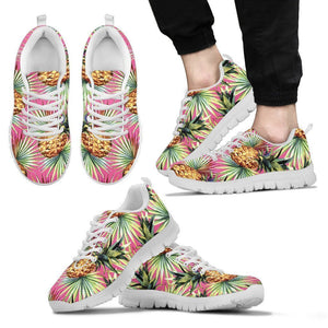 Pink Watercolor Pineapple Pattern Print Men's Sneakers GearFrost