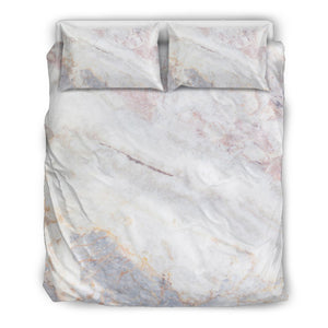 Pink White Grey Marble Print Duvet Cover Bedding Set GearFrost