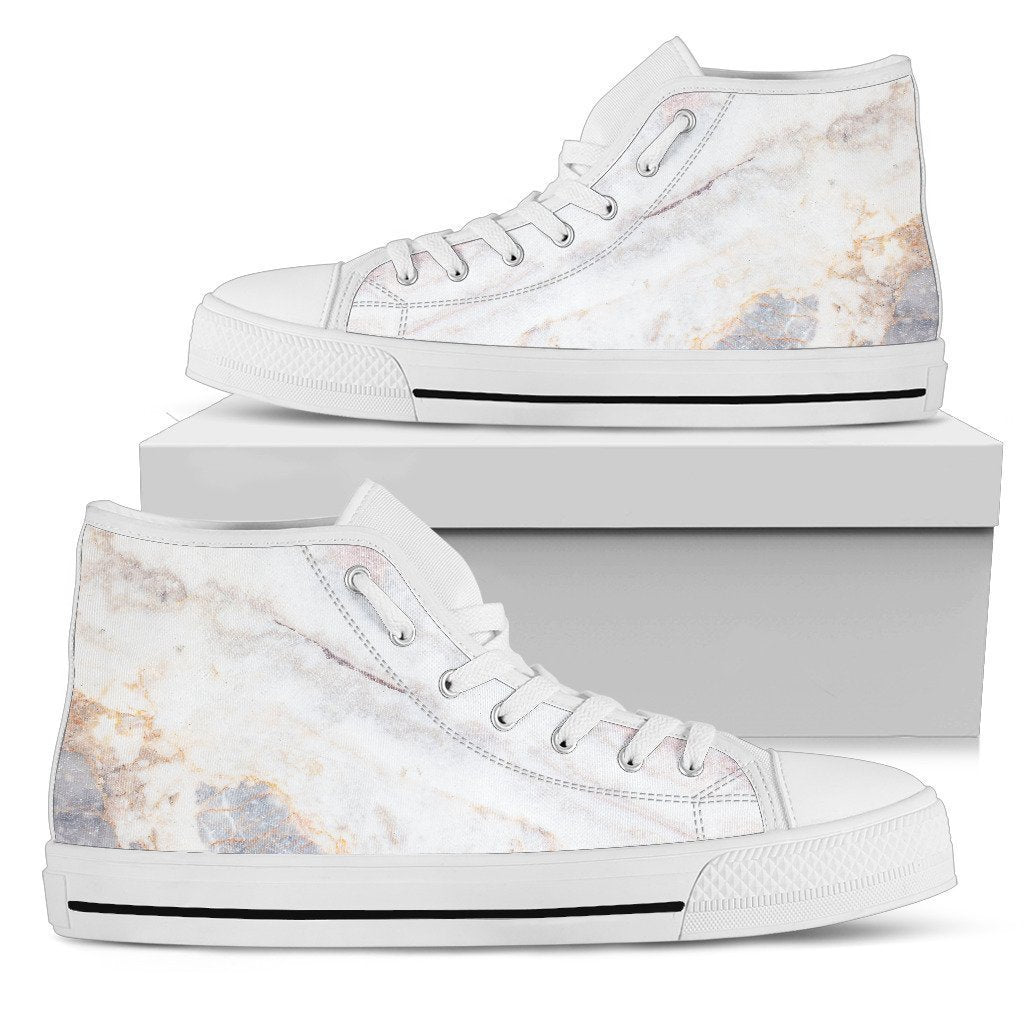 154f3370fc97f Pink White Grey Marble Print Men's High Top Shoes – GearFrost