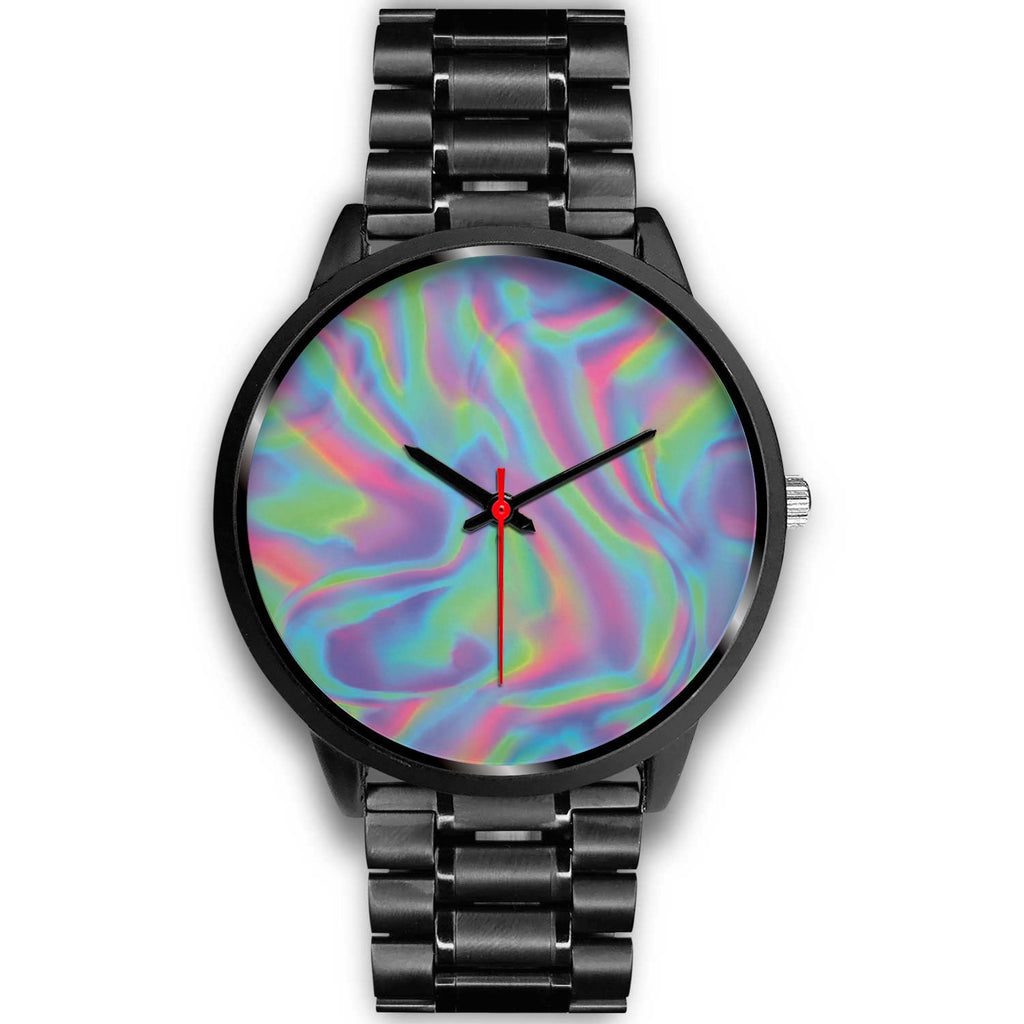 Psychedelic Holographic Trippy Print Black Watch GearFrost