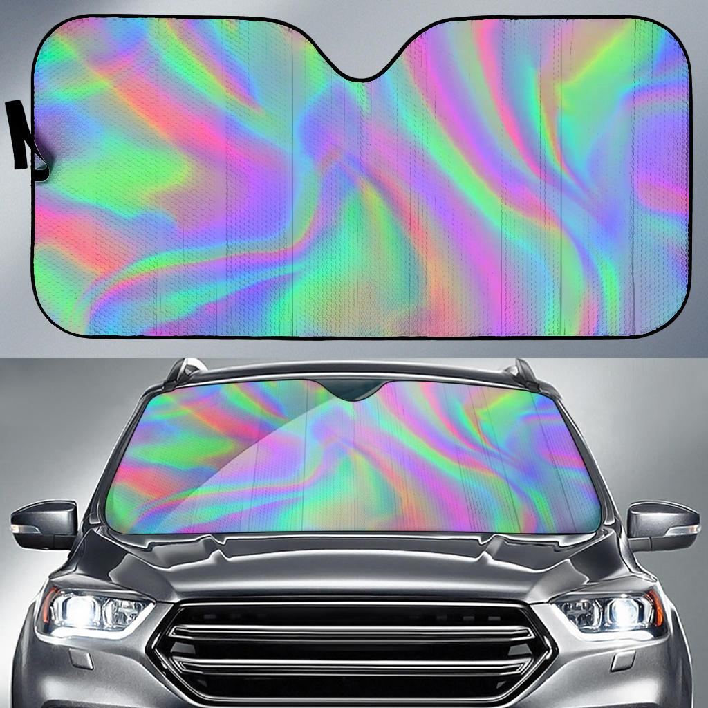Psychedelic Holographic Trippy Print Car Sun Shade GearFrost