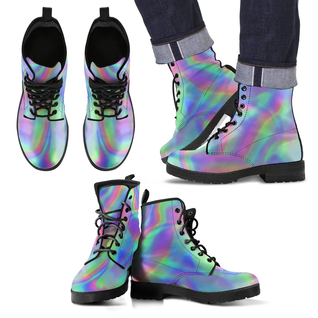 Psychedelic Holographic Trippy Print Men's Boots GearFrost
