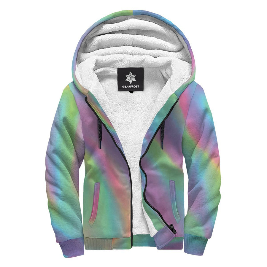 Psychedelic Holographic Trippy Print Sherpa Lined Fleece Hoodie GearFrost