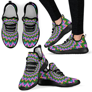 Psychedelic Radiant Optical Illusion Mesh Knit Shoes GearFrost