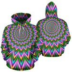 Psychedelic Radiant Optical Illusion Pullover Hoodie GearFrost