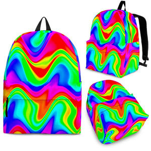 Psychedelic Rainbow Trippy Print Backpack GearFrost