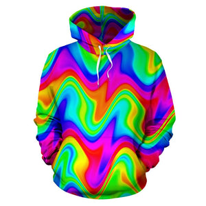 Psychedelic Rainbow Trippy Print Pullover Hoodie GearFrost