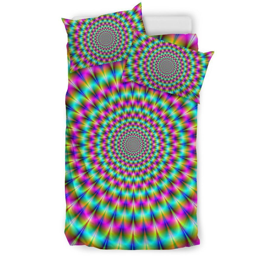 Psychedelic Rave Optical Illusion Duvet Cover Bedding Set GearFrost