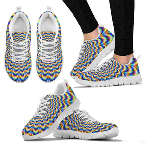Psychedelic Wave Optical Illusion Women's Sneakers GearFrost