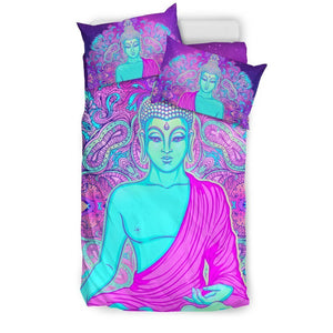 Purple And Teal Buddha Print Duvet Cover Bedding Set GearFrost