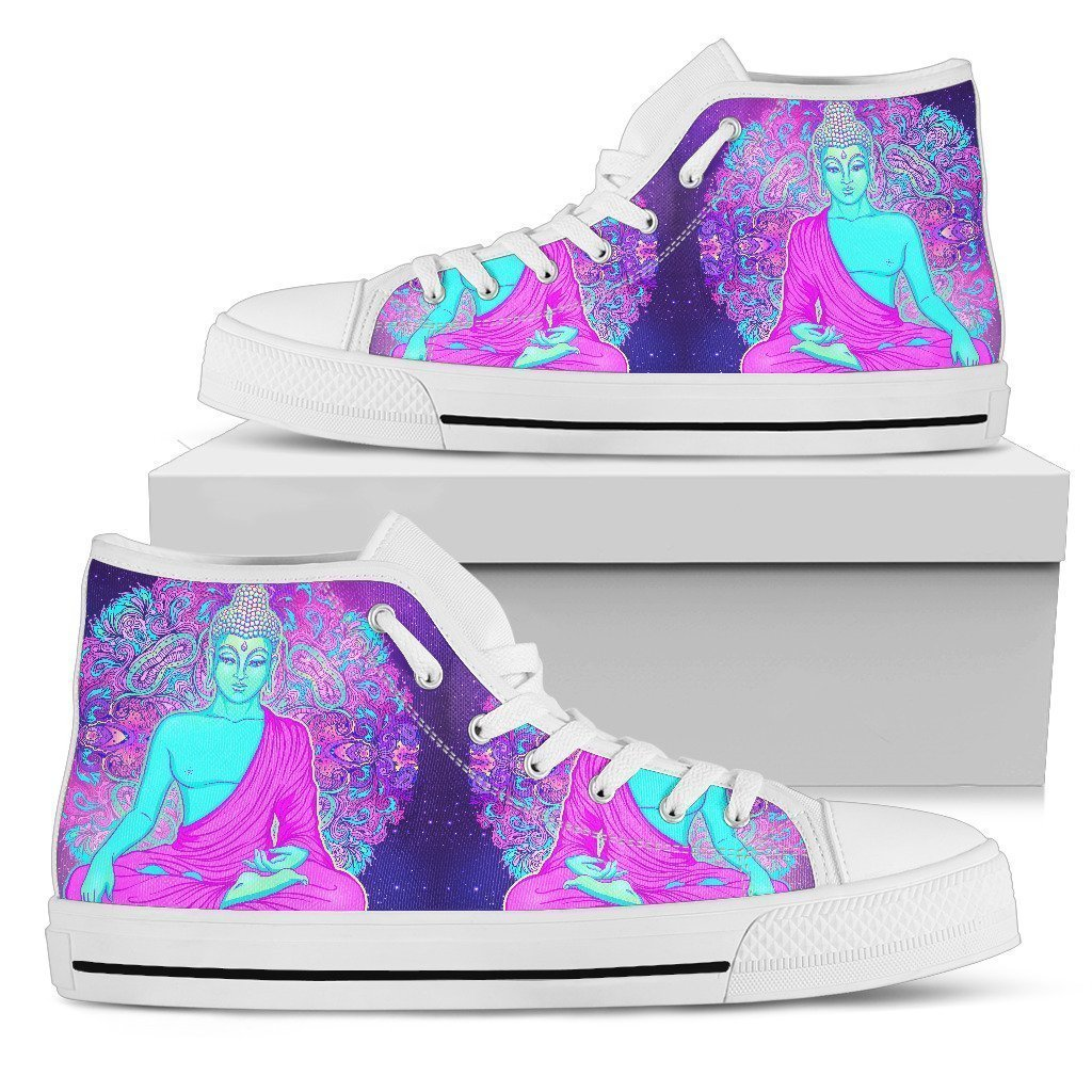 Purple And Teal Buddha Print Men's High Top Shoes GearFrost