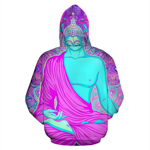 Purple And Teal Buddha Print Pullover Hoodie GearFrost
