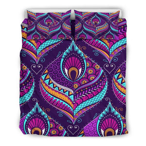 Purple Bohemian Peacock Feather Print Duvet Cover Bedding Set GearFrost