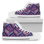 Purple Bohemian Peacock Feather Print Men's High Top Shoes GearFrost