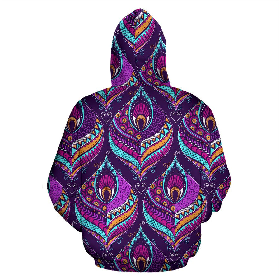Purple Bohemian Peacock Feather Print Pullover Hoodie GearFrost