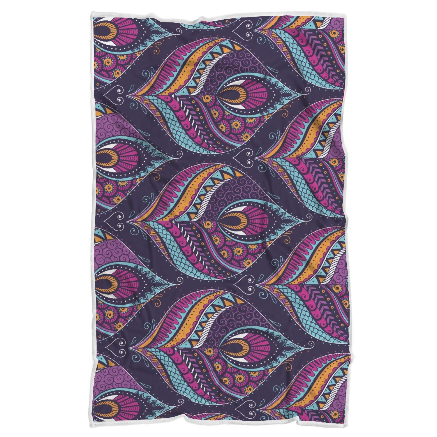 Purple Bohemian Peacock Feather Print Sherpa Blanket GearFrost