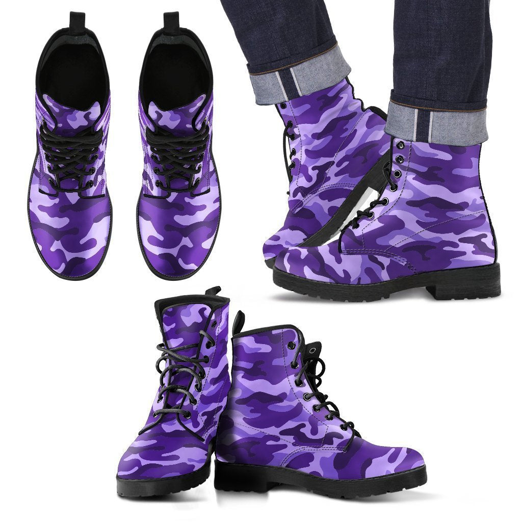 Purple Camouflage Print Men's Boots GearFrost