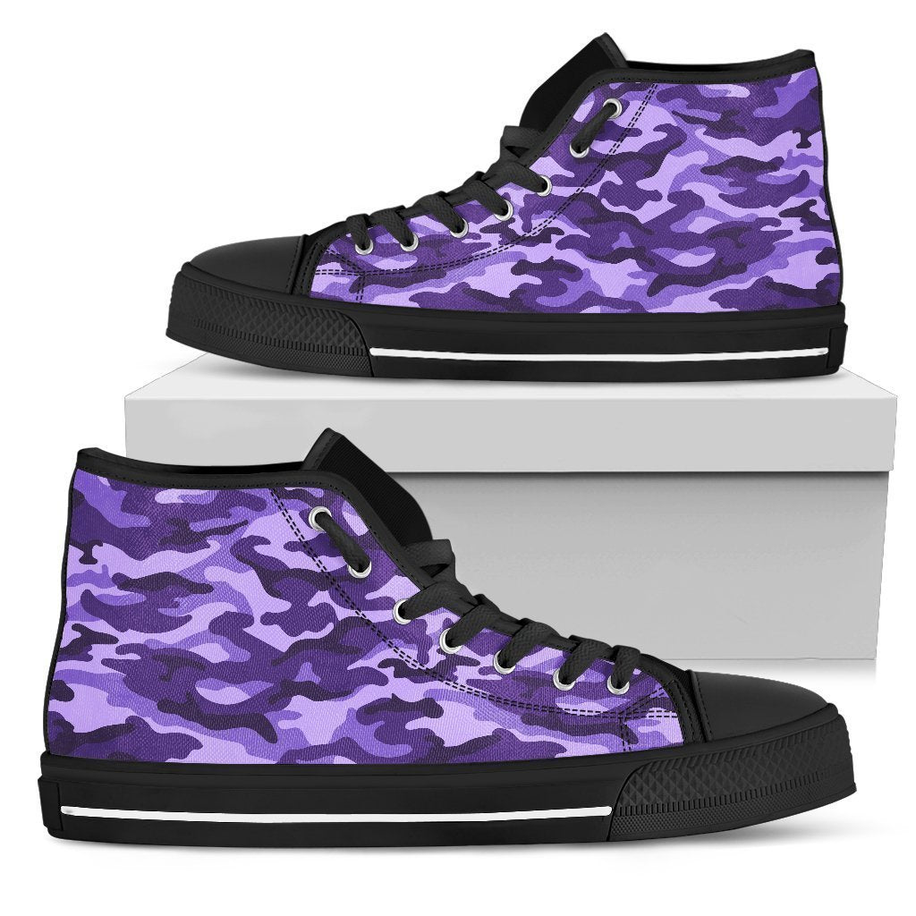Purple Camouflage Print Men's High Top Shoes GearFrost