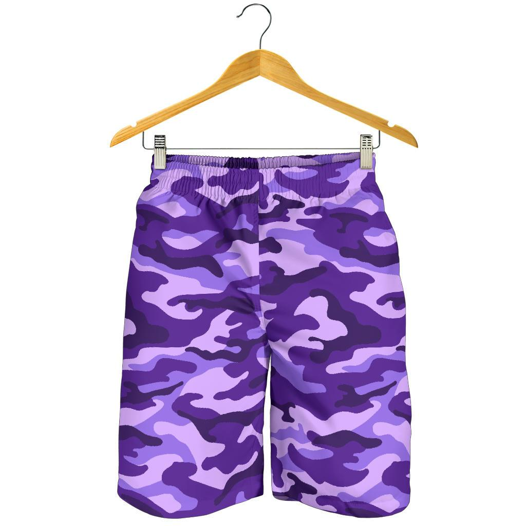 Purple Camouflage Print Men's Shorts GearFrost