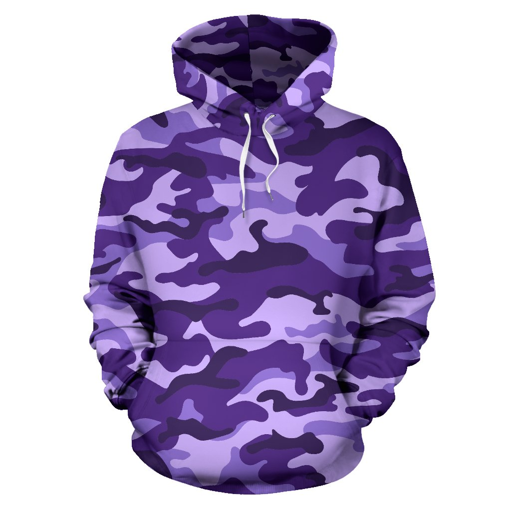 Purple Camouflage Print Pullover Hoodie GearFrost