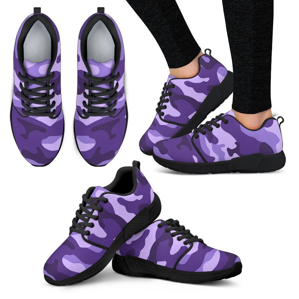 Purple Camouflage Print Women's Athletic Shoes GearFrost