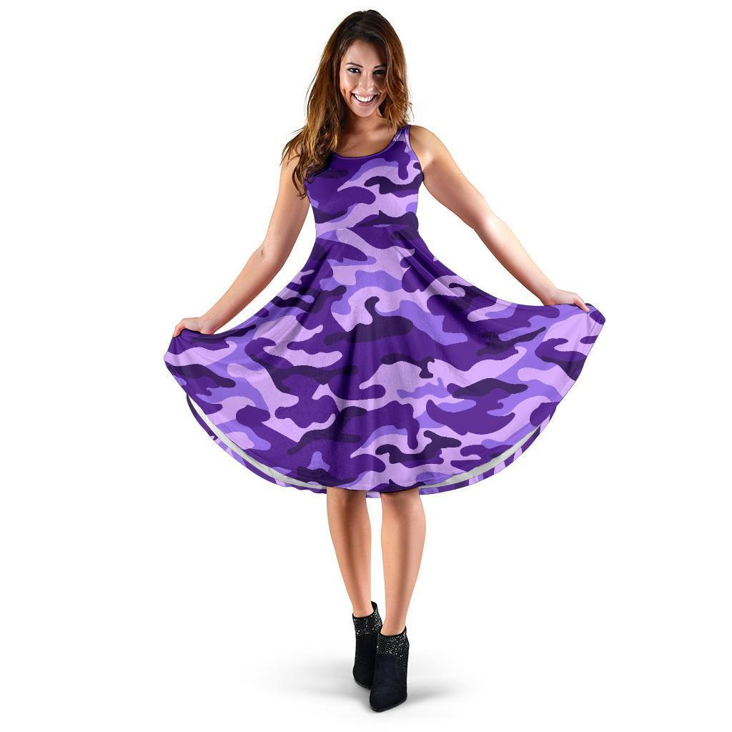 Purple Camouflage Print Women's Dress GearFrost