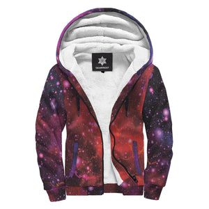 Purple Dark Galaxy Space Print Sherpa Lined Fleece Hoodie GearFrost