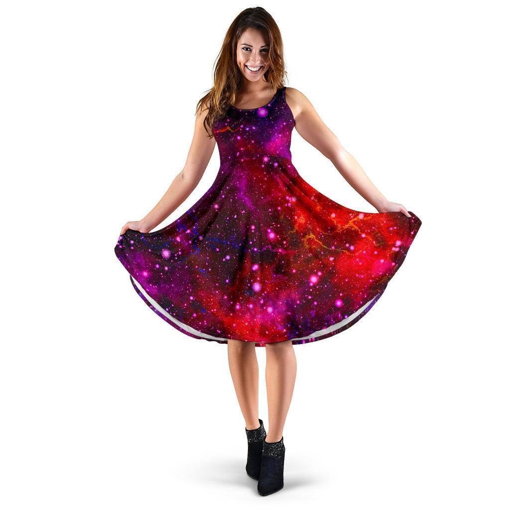 Purple Dark Galaxy Space Print Women's Dress GearFrost