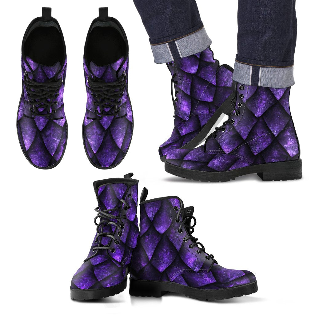 Purple Dragon Scales Pattern Print Men's Boots GearFrost
