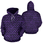 Purple Dragon Scales Pattern Print Pullover Hoodie GearFrost