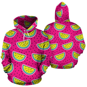 Purple Fancy Watermelon Pattern Print Pullover Hoodie GearFrost