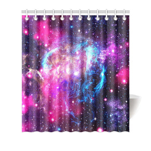 Purple Galaxy Space Blue Stardust Print Bathroom Shower Curtain GearFrost