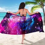 Purple Galaxy Space Blue Stardust Print Beach Sarong Wrap GearFrost